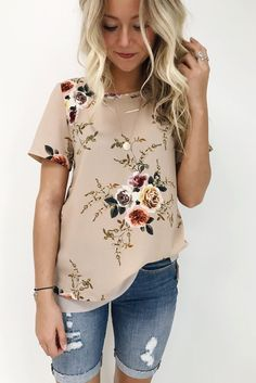 Taupe Floral Blouse | ROOLEE