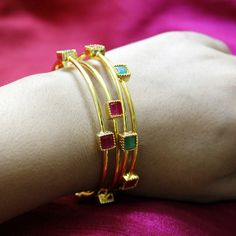 2.6 Bangle Size Four Multicolor Gold Bangles With Red And Green Stones For Trendy Casual Wear Fashion Bollywood Style By Maesha