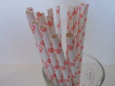Pink Polka Dot Retro Party Straws Qty75 by ASweetCelebration, $10.50