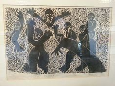 "David Phoshoko / 1978 "" The Accused"" woodcut 2/10"