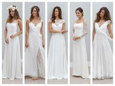 De gauche à droite : Robes Ella, Eléonore, Cécilia, Sarah et Maya. Robes de mariée longues, Marie Laporte 2015