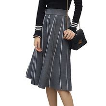 Office Lady Skirts 2017 Autumn Winter Knitted Pleated Long Skirts for Women Elegant Elastic Waist Striped Skirts Female