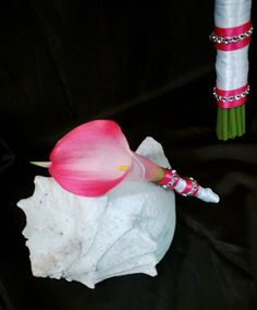 Silk Bridal Bouquet Real Touch Hot Pink Calla by SilkFlowersByJean, $75.00