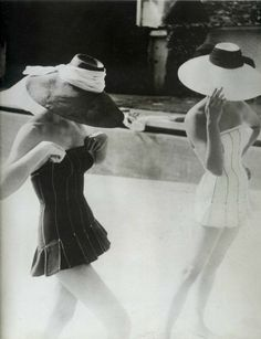 vintage swimsuits and gorgeous sunhats