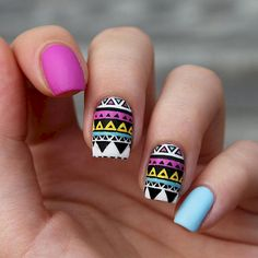 Try out something different for every one of your nails and you will be surprised. You may also customize your nails a lot simpler. In the event the nail is short it is far better to go for a design acceptable for that nail. Fake nails may also have art. Tribal Nail Designs, Tribal Nails, Nail Art Designs, Nails Design, Love Nails, Fun Nails, Jolie Nail Art, Summer Toe Nails, Pretty Nail Art