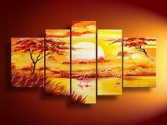 Love this canvas arrangement-NOT the painting.... Maybe use this idea to paint something for the dining room?