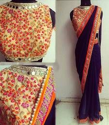 Buy navy_blue plain georgette saree with blouse party-wear-saree online
