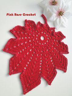 PINK ROSE CROCHET: Centrinho Folha com Suporte para Velas de Natal