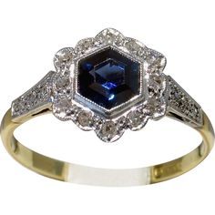 Darling 18kt EDWARDIAN c.1910 Sapphire & Diamond Engagement Ring