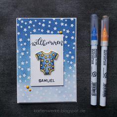 Kartenwerke, Babykarten, Babycards, Newton's Nook, Create a Smile, Stampin Up, Distress Inks, Zigs