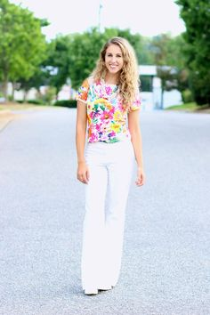 70s inspired look with wide leg pants and cap sleeve top