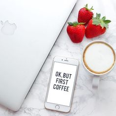 Hello IG! Happy Saturday! I had a terrible night @by.rosann { minimal minimalistic flatlay photography white grunge instagram pastel pale goth strawberry coffee macbook iphone marble }