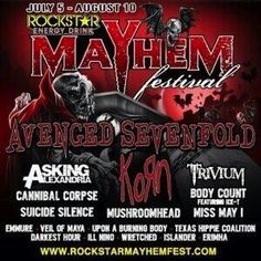 Rockstar Energy Drink Mayhem Music Festival 2014 Lineup Poster with Avenged Sevenfold and Korn