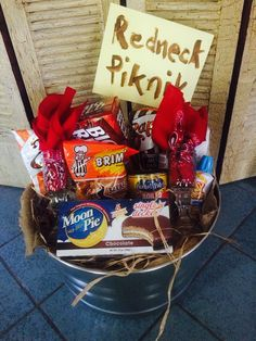 "My rendition of a ""redneck picnic"" basket!"