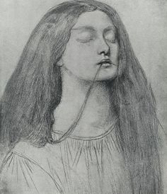 Mrs Rossetti With Her Hair In Her Mouth Drawing by Dante Gabriel Rossetti.