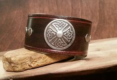 Celtic Leather Cuf Bracelet-Round Cross by LeatherVision on Etsy