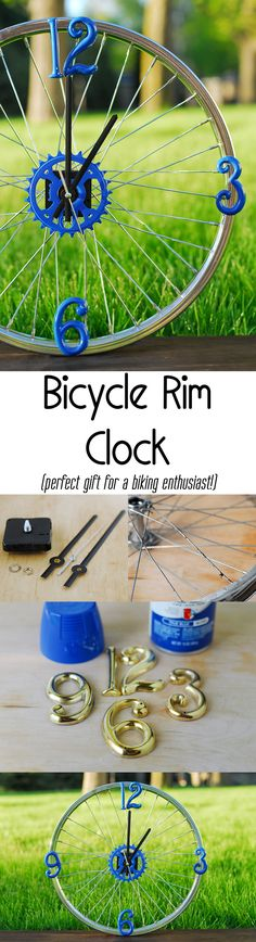 Rim Clock: The Perfect Gift for a Biking Enthusiast Weekend project: DIY bicycle rim clock -- it actually works! Great gift idea for Father's Day.Weekend project: DIY bicycle rim clock -- it actually works! Great gift idea for Father's Day. Weekend Projects, Diy Projects To Try, Craft Projects, Bicycle Rims, Bicycle Art, Bicycle Wheel, Bicycle Clock, Wagon Wheel, Bicycle Decor