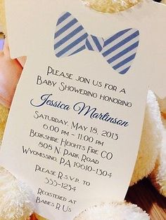 Baby Boy Onesie Shower Invitation Bow Tie All Wording Customized For You