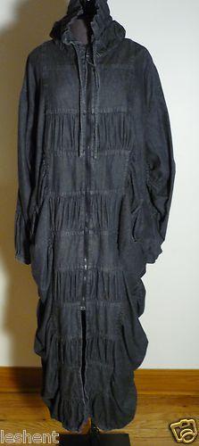 Long Hebbeding Avant Garde Lagenlook Gathered Black Denim Coat   eBay