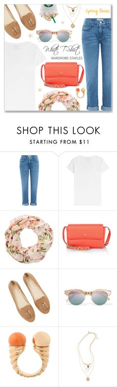 """""""Wardrobe Staple: White T-Shirt"""" by dressedbyrose ❤ liked on Polyvore featuring Current/Elliott, Majestic, Etienne Aigner, Le Specs, Eshvi, Topshop, WardrobeStaple and polyvoreeditorial"""