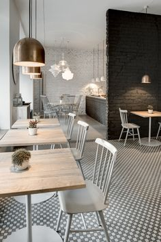 Cafe restaurant furniture timber always brings such a cozy feel to any inte Cafe Bar, Cafe Restaurant, Restaurant Design, Café Design, Deco Design, Home Design, Cafe Furniture, Restaurant Furniture, Restaurant Tables And Chairs