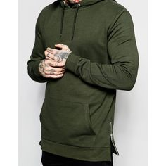 ASOS Longline Hoodie With Zips In Khaki ($22) ❤ liked on Polyvore featuring men's fashion, men's clothing, men's hoodies, mens cotton hoodies, mens sweatshirts and hoodies, mens zip hoodies, mens tall hoodies and mens zipper hoodies