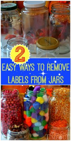 Find out just how easy it is to remove those pesky labels from jars! Here are two easy ways to remove jar labels!