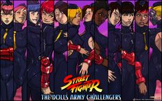 Shadaloo Dolls from Street Fighter Wallpaper Art. Enero (January in Spanish),Février (February in French), März (March in German),Aprile (April in Italian),  Satsuki (May in Chinese), Juni & Juli (June and July in German), Santamu (August in Vietnamite), Xiayu (September in Chinese), Jianyu (October in Chinese), Noembelu (Not named after a Month?), Decapre (December in Russian)
