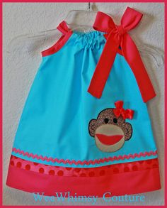 Custom Whimsical Sock Monkey Applique Dress by weewhimsycouture, $24.00