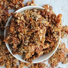 4 types of seeds coconut flakes in tahini coconut butter & maple syrup - the perfect crunchy snack/breakfast. Brunch Recipes, Snack Recipes, Cooking Recipes, Paleo Recipes, Breakfast Recipes, Coconut Recipes, Dairy Free Recipes, Gluten Free, Vegan Snacks