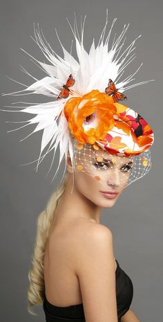 Orange White Butterfly Floral Feathers Fascinator Hat. Pretty Headpiece for Mother of the Bride or Racing Fashion, Day at the races. Kentucky Derby Oaks day, Royal Ascot, Epsom Derby, Melbourne Cup. Raceday Fashion ideas and inspiration. Winter wedding guests. #millinery #kentuckyderby #derbyoutfits #royalascot #ascotoutfits #racingfashion #motherofthebride #weddings #melbournecup #weddingguest #affiliatelink #hats #summerwedding