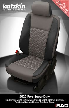 K1377-100 - This is a 2020 Ford F-250 seat with Black wrap, Stone center, Stone wings, Stone contrast all stitch, TekStitch Diamond insert, Tek Color Stone. #Katzkin #Ford #F250 #SuperDuty Leather Kits, Custom Leather, Real Leather, Automotive Upholstery, Car Upholstery, Peugeot France, Camo Gear, Leather Seat Covers, Ford Super Duty