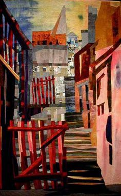 "Elizabeth Barton Art Quilts - ""The Red Gate"""