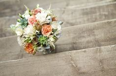 Beach Destination Eco Garden Rustic Shabby Chic Summer Green Ivory Orange White Bouquet Wedding Flowers Photos & Pictures - WeddingWire.com