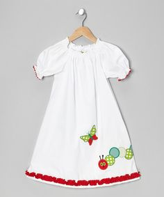 Take a look at this White Caterpillar Puff-Sleeve Dress - Infant, Toddler & Girls on zulily today!