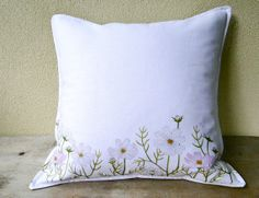 White and green linen pillow cover with daisies by OrganicByNature, $45.00