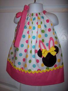 Minnie Mouse Easter Bunny Pillowcase Dress Easter Dress. $28.00, via Etsy.