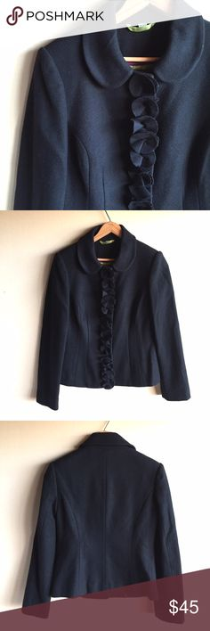 """Boden wool blend pea coat in dark navy blue Great little coat by Boden in very dark Navy with a ruffled front. Snap closure, fully lined. 78% wool, 22% nylon with acetate lining. Dry clean. Measures 17.5"""" from underarm to underarm and 22.5"""" long. Gently worn with minimal signs of wear. Boden Jackets & Coats"""