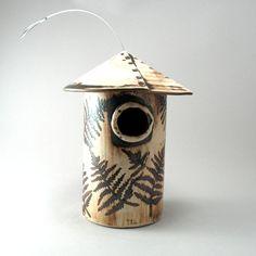 Bird House-Hand Built Stoneware-Fern by cherylwolffgarden on Etsy