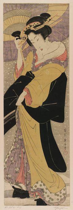 (Japan) Beauty with Umbrella in Snow by Kikugawa Eizan woodblock print. ukiyo-e. Japanese Drawing, Cuadros Diy, Art Occidental, Japan Painting, Japanese Illustration, Art Japonais, Japanese Prints, Japan Art, Museum Of Fine Arts