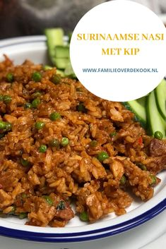 Surinamese fried rice with chicken - Surinamese fried rice with chicken and peanut sauce Sauce - Low Carb Vegetarian Recipes, Quick Healthy Meals, Good Healthy Recipes, Healthy Chicken Recipes, Veggie Recipes, Cooking Recipes, Cooking Tips, Carribean Food, Good Food