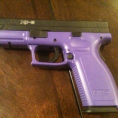 Springfield XD...my brother in law cerakoted it himself and can do it for you too.  The coolest chick gun EVER !!!