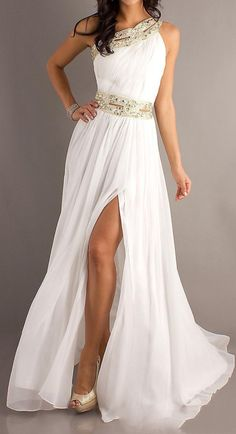 Gorgeous slit wedding dress. This one is effortless, and will make you look beautiful.