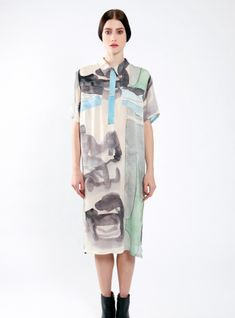 Young British Designers: Traveller Silk Midi Shirt Dress by Partimi - Inspired by the likes of Hemingway and Conrad this fresh new midi length shirt dress is very lovely indeed. It has the gentle beauty of a designer at one with the earth at its heart.