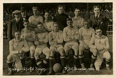 The Huddersfield football team Larrett Roebuck is on the back row, second from the right. Huddersfield Town Fc, Back Row, Football Team, History, Sports, Terriers, Fictional Characters, Group, Hs Sports