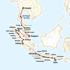 Route map for Southeast Asia in Depth (ATSE), a 41-day journey