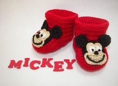 crochet mickey mouse baby outfit pattern | ... : Pitter Patter Baby Gifts! Super Cute Crocheted Baby Booties & More