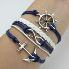 Ship Steering Wheel Anchor Infinity Bracelet from Picsity.com