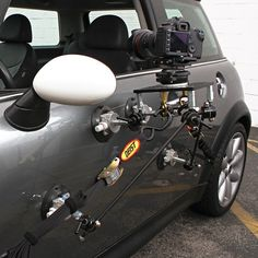 Filmtools® Teenie Weenie™ 4-Cup Car Camera Mount. This is the most robust of the mounting systems we have for the Teenie Weenie Grip Gear. This mount comes with gutter hooks and tie-downs for safety, Leveling mount and acheese plate (counter sunk). This kit is extremely versatile and is capable of most types of driving shots seen on film.