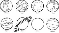 planets drawing clipart planet mercury solar system neptune mars saturn jupiter outline space water drawings cliparts clip sun outer library